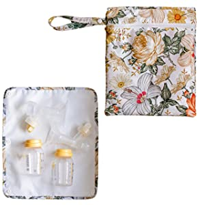 Breast Pump Bag Wet Bag - Pump Bag with Floral Pattern Wet Dry Bag for Breast Pump Parts Pumping Bag Size is 13