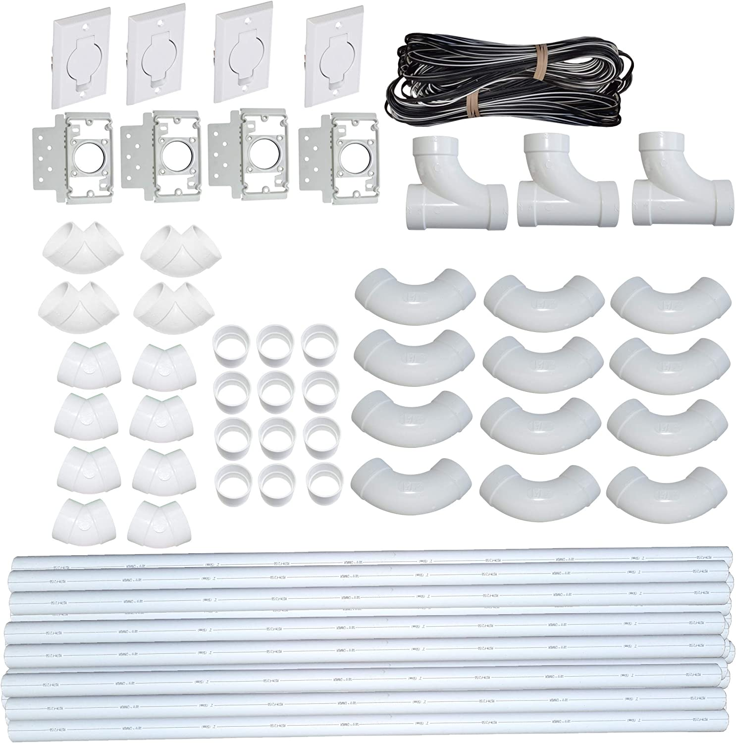 ZVac Central Vacuum Pipe & Inlet Installation Kit with 100 Feet of Pipes & Wires Pre-Packaged with Wall Plates, Elbows, Brackets, Couplers & Sweep Ts Compatible with Central Vacuum NuTone, Beam & More