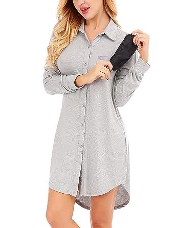 42d2690ff5 Dromild Women s Pajama Long Sleeve Lapel Sleepwear Button Down Sleep Shirt  Dress Grey