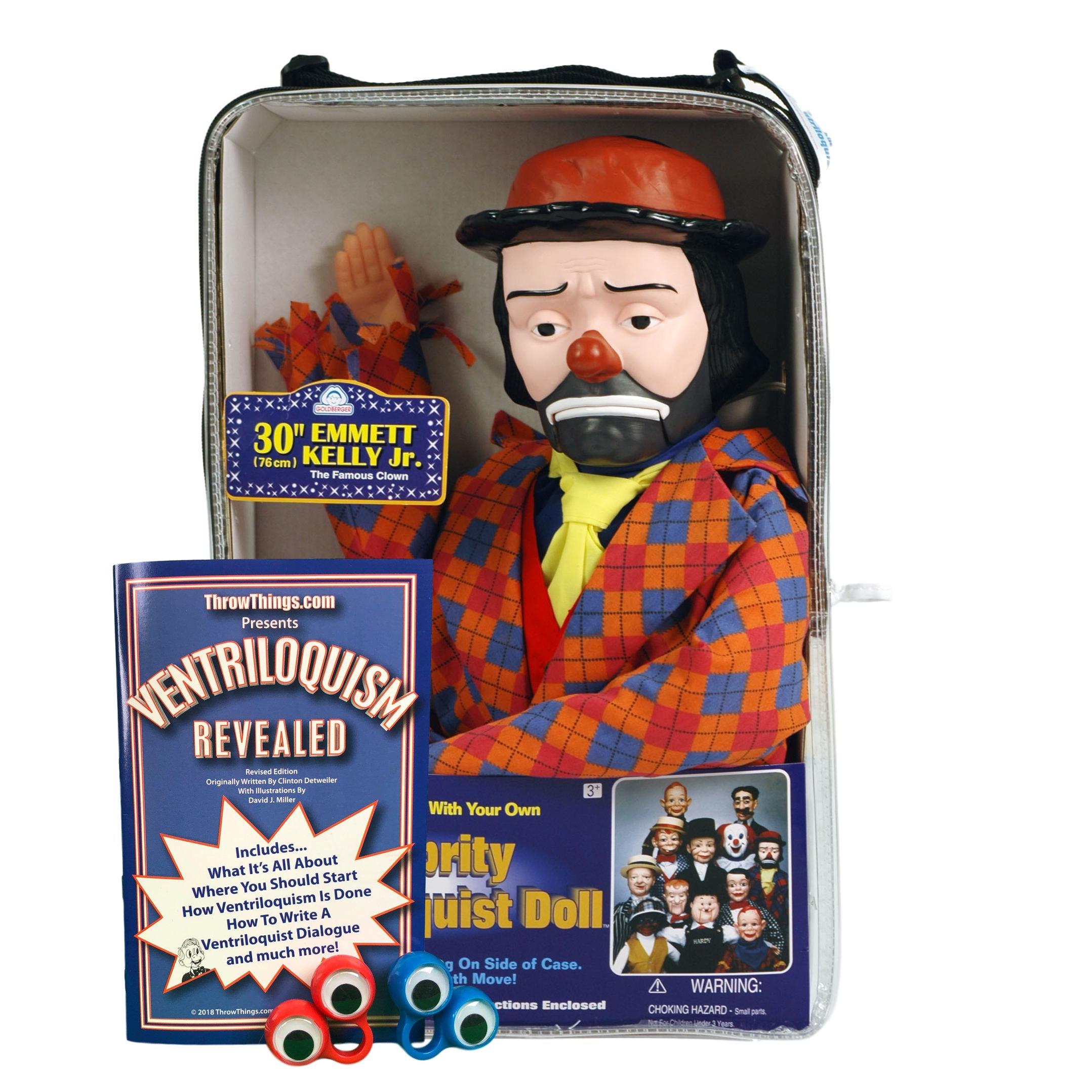 ThrowThings.com Bonus Bundle! Emmett Kelly Jr Ventriloquist Dummy Doll PLUS Ventriloquism Revealed Booklet PLUS Two Finger gEyes by ThrowThings.com (Image #1)