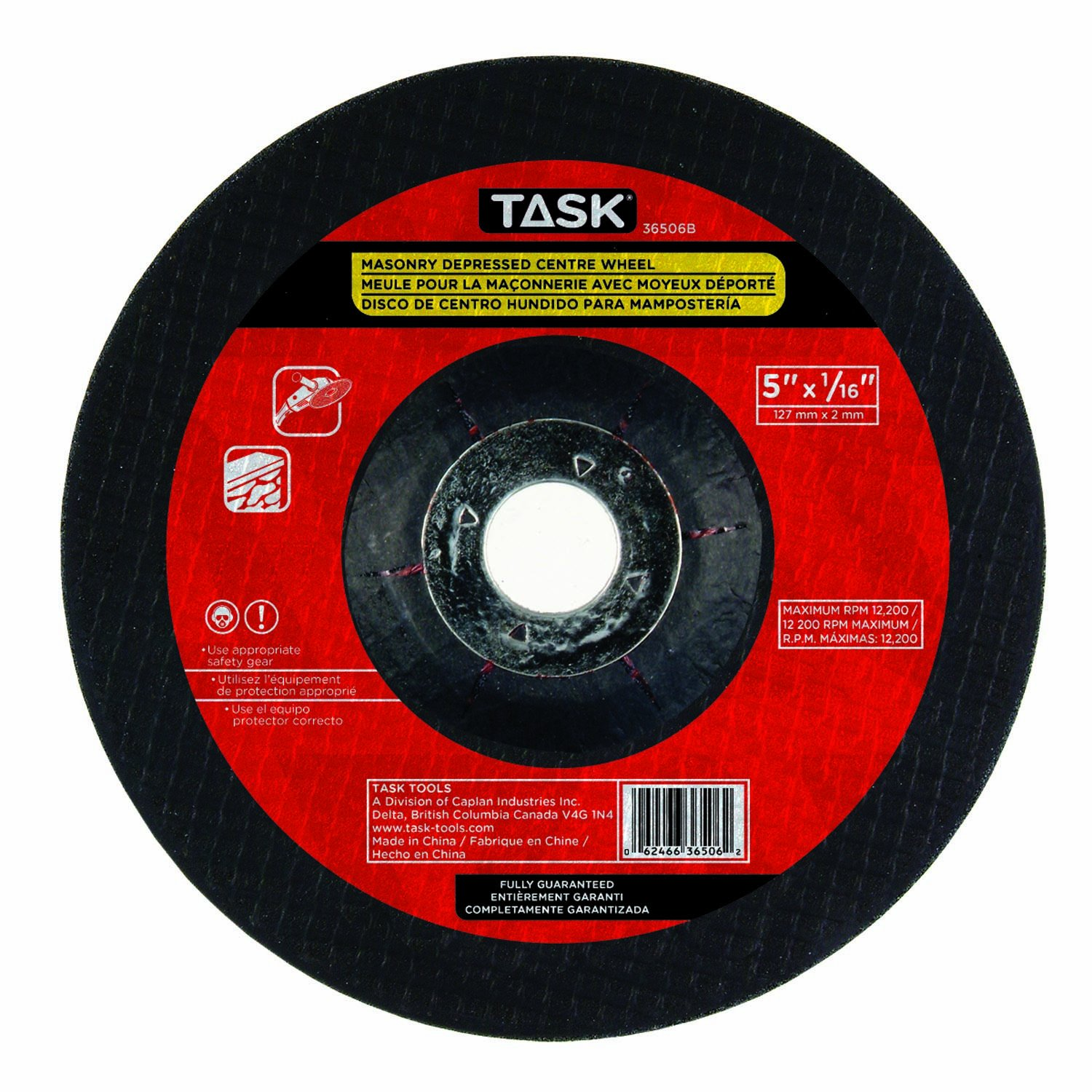 Task Tools 36506B 5-Inch by 1//16-Inch Masonry Cutting Wheel with Depressed Center LCM Team Task Tools