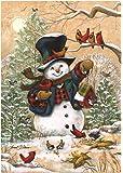 """Briarwood Lane Winter Friends Garden Flag Snowman & Cardinals Winter Seasonal Banner 12.5""""x18"""""""