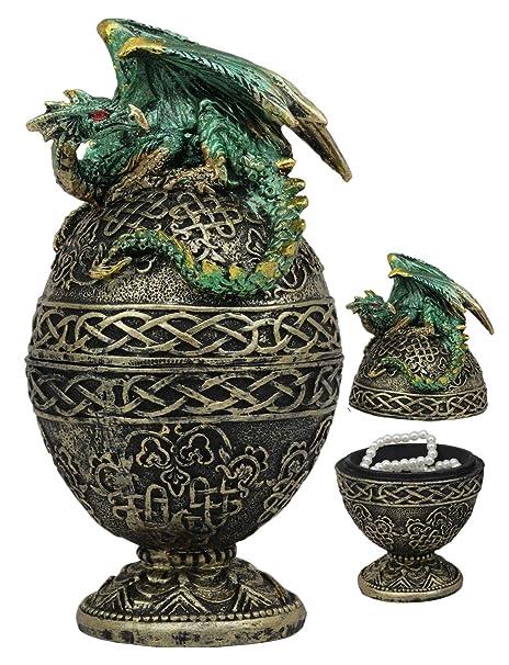 Estatua de dragón verde de Ebros para regalo de tatuaje celta con ...