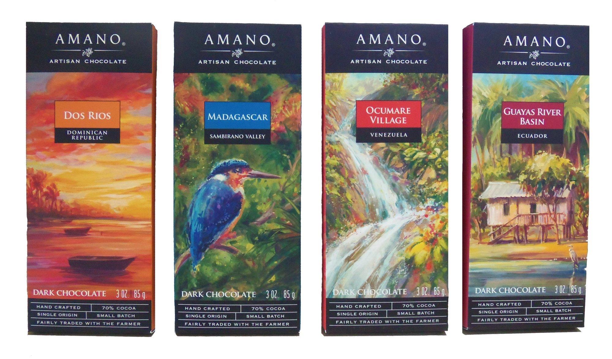 Amano Artisan Dark Chocolate Bar Variety Quartet - Dos Rios, Madagascar, Ocumare, & Guayas River Basin - 4 Bars, 3 Ounces Per Bar - Academy of Chocolate Award Winners!
