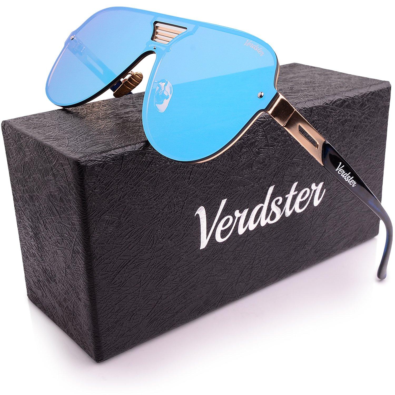Verdster Trendige Gespiegelte Piloten-Sonnenbrille - Spezielle TourDePro Gläser - Zubehöretui - UV400 Schutz - Übergroße Sonnenbrille- Ideal für Städtetouren (Blau)