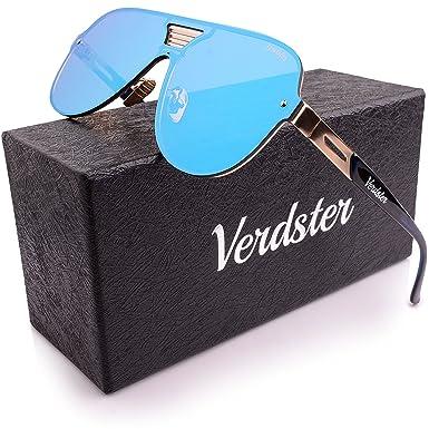 Verdster Trendige Gespiegelte Piloten-Sonnenbrille - Spezielle TourDePro Gläser - Zubehöretui - UV400 Schutz - Übergroße Sonnenbrille- Ideal für Städtetouren (Blau) gbP26FWS