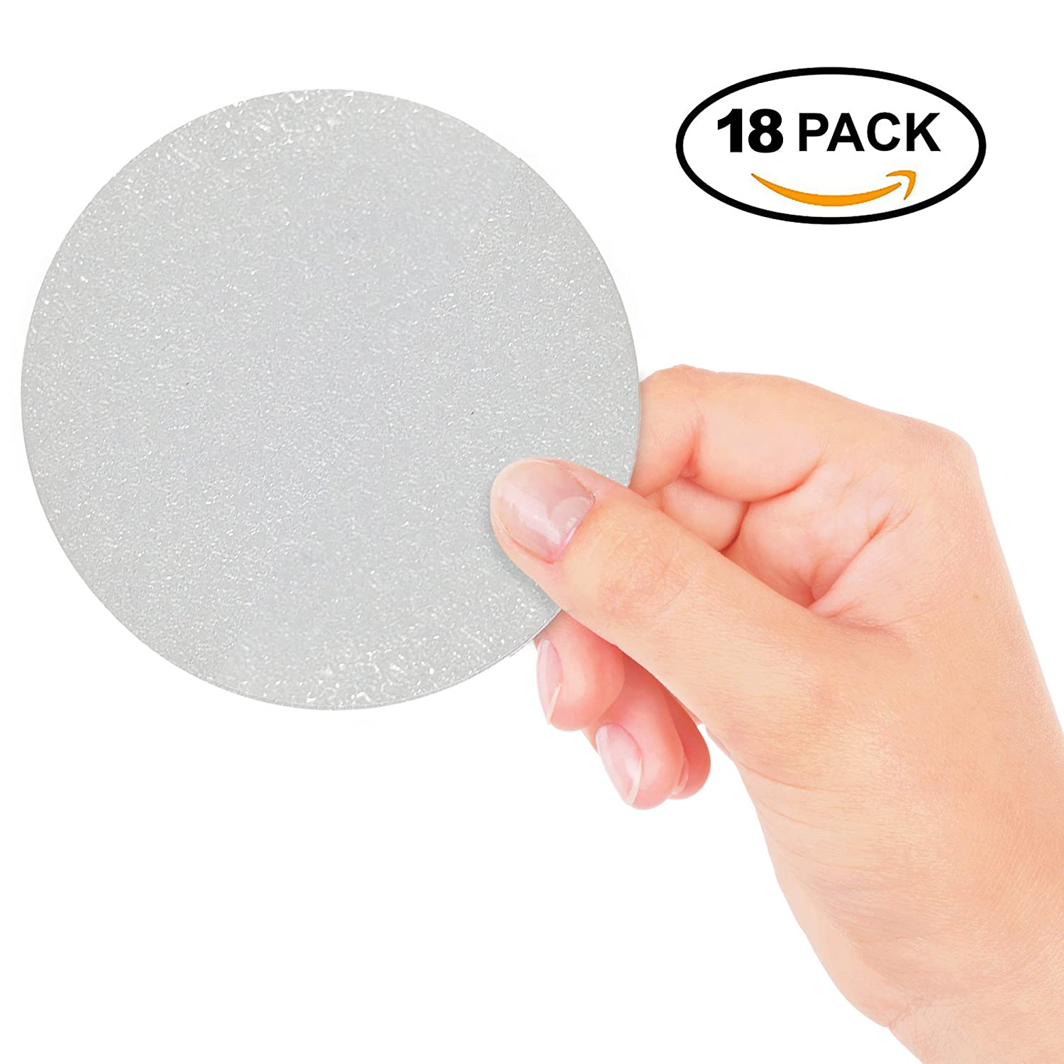 Chuckle 18 Big Baby Protection Transparent Anti Slip Circle Stickers for Bath and Shower Safety for better floor grip & surface resistance, 10 CM Diameter