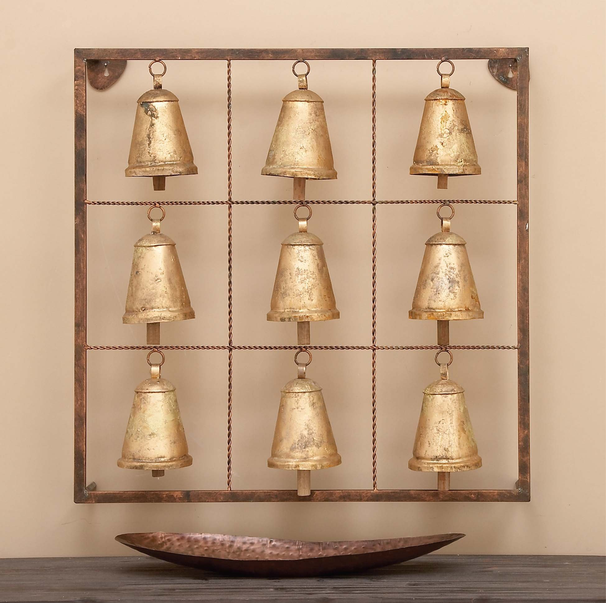 Deco 79 Benzara 26723 Metal Square Wall Plaque with 9 Bells and Rustic Look, 32'' x 32'', Distressed Gold Finish by Deco 79