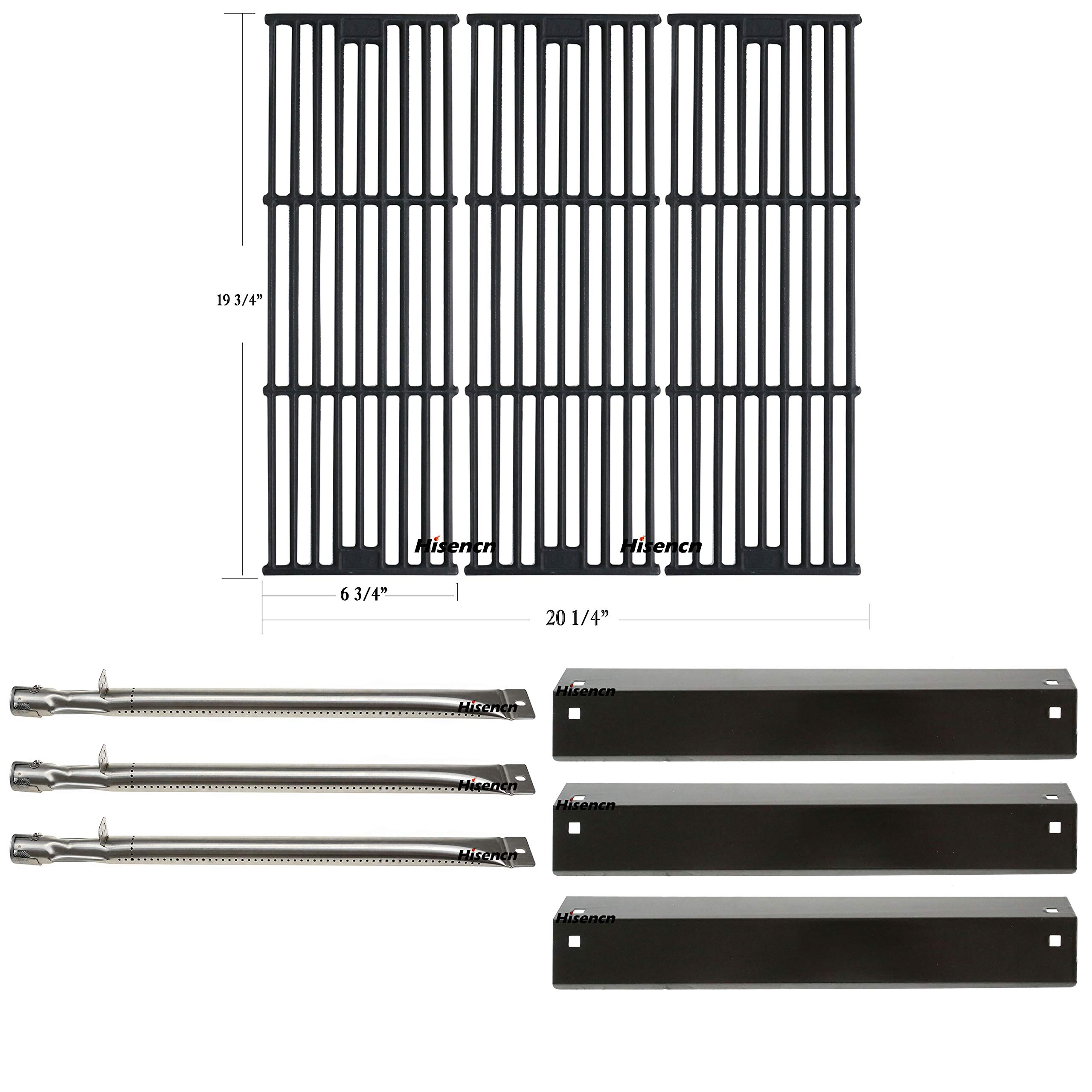 Hisencn Replacement Rebuild Repair Kit Fits Chargriller 3001, 3008, 3030, 4000, 5050, 5252 Gas Grill Models, Stainless Steel Burner, Porcelain Steel Heat Plate, Cast Iron Cooking Grid Grates