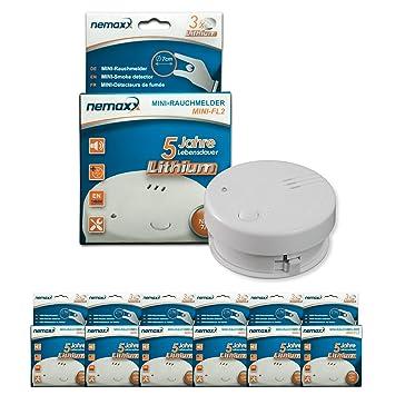 6X Detector de Humo Nemaxx Mini-FL2 Mini Detector de Fuego y Humo Detector con batería de Litio de Acuerdo con la Norma DIN EN 14604: Amazon.es: Bricolaje y ...