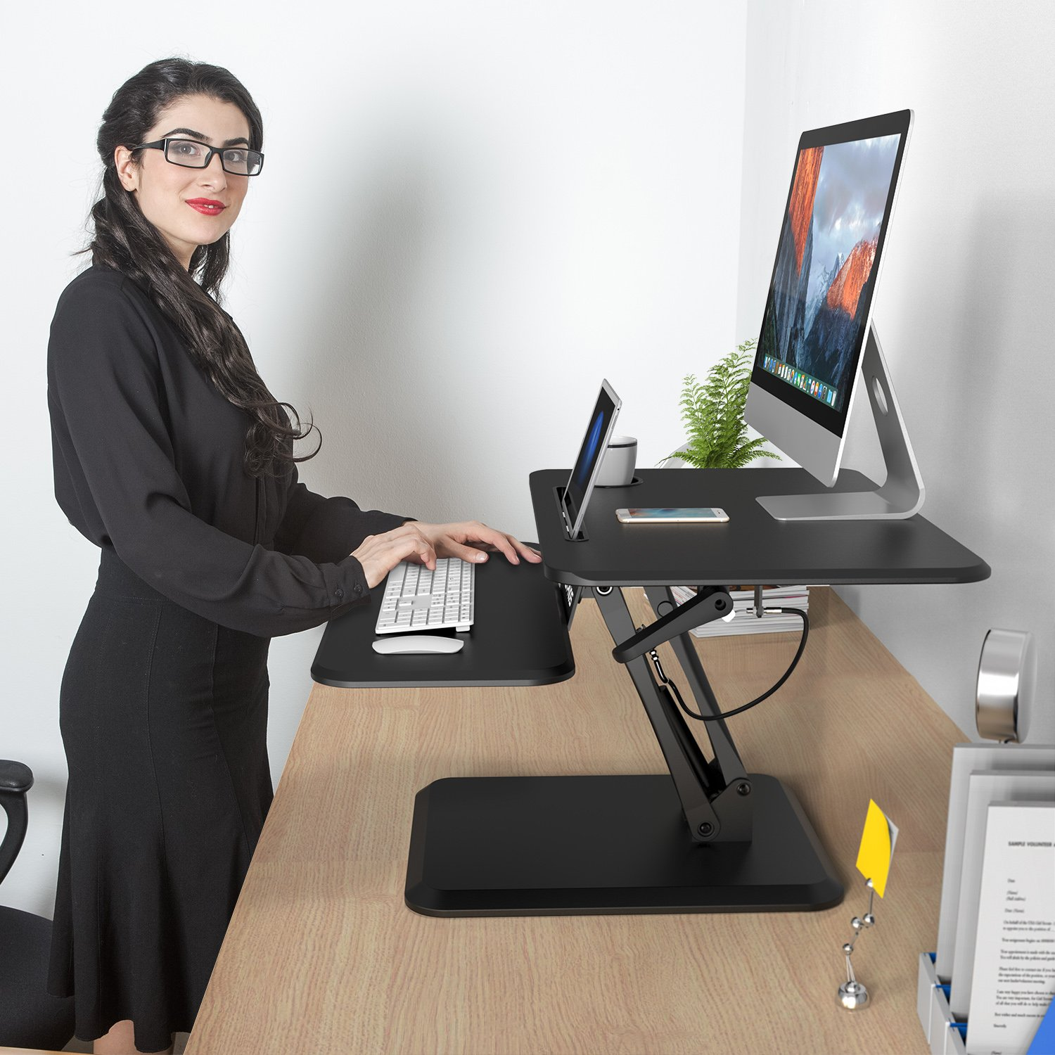 SLYPNOS Height Adjustable Standing Desk Converter Sit to Stand up Desk Riser, with Keyboard Mouse Deck and Cup Holder, 25 Inches Wide Ergonomic Workstation by SLYPNOS