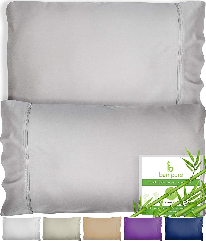 BAMPURE Bamboo Pillow Cases King Size Pillow Cases Set of 2 20x40-100% Organic Bamboo Pillow Cases King Pillow Cases Set of 2 King Pillow Case King Size Pillow Case King Pillow Case Light Gray