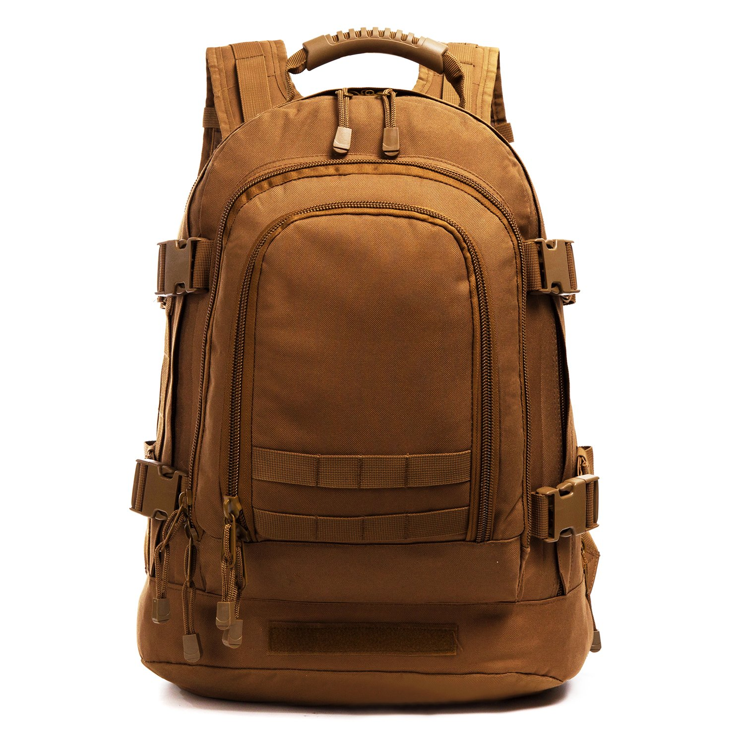 GreenCity Military Outdoor Backpack,Expandable Tactical Backpack,Travel Backpack,DIY System Up to 64L Loading Space for Travel,Camping,Hunting,Trekking and Hiking (Tan, Not with Belt)