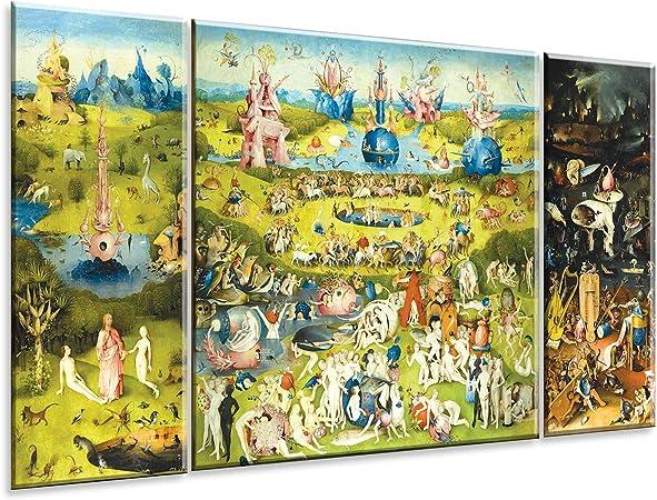 Giallobus Cuadro de Paneles múltiples en 3 Piezas - El Jardin de Las delicias - Impresion en Forex - Listo para Colgar - 40x100 cm - 100x100 cm - 40x100 cm: Amazon.es: Hogar