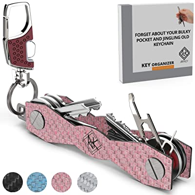 Carbon Fiber Compact Key Holder - Premium Heavy-Duty Key Organizer UP to 28 Keys -B0NUS Keychain Holder with Loop Piece for Belt or Car Keys - SIM & Bottle Opener + Video Instructions (Pink Carbon): Office Products
