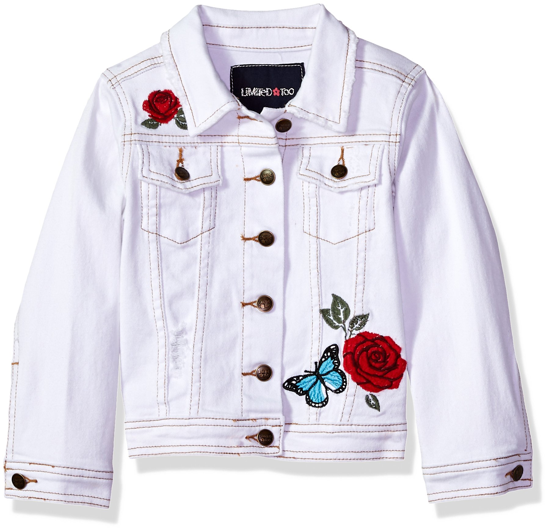 Limited Too Little Girls' Jean Jacket, White, 10/12
