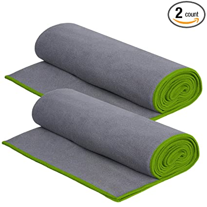 DG SPORTS (2 Pack 72 x 24 Inch Microfiber Yoga Towel Non Slip Grip for Hot Yoga and Yoga Mat, Sweat Absorbent