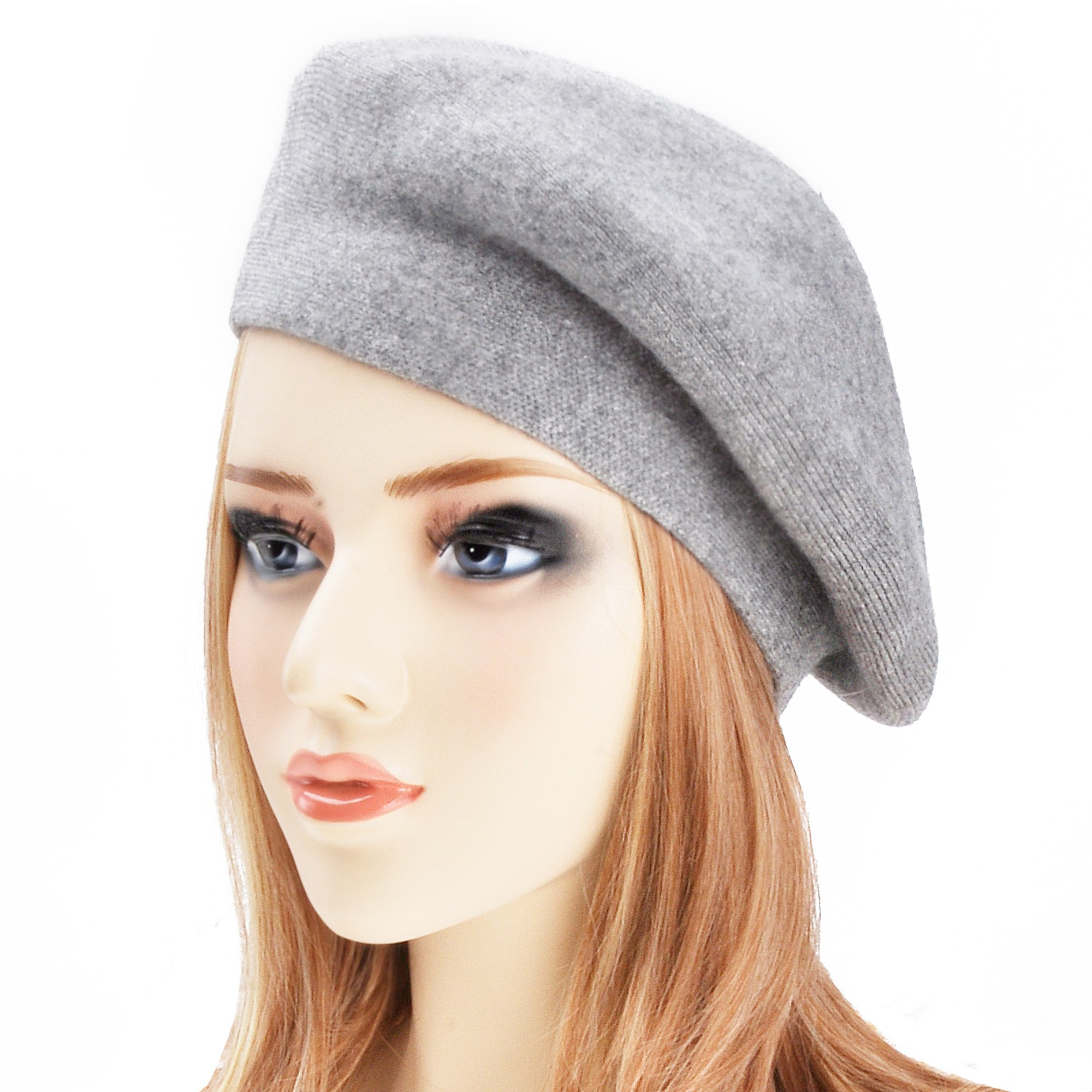 ZLYC Womens Reversible Cashmere Beret Hat Double Layers French Beret, Gray by ZLYC (Image #4)