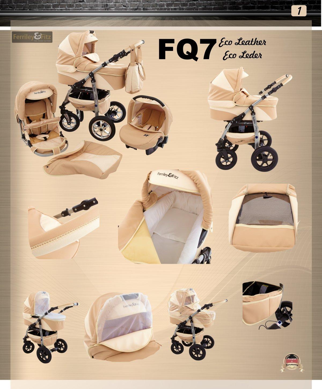 Ferriley /& Fitz Daytona en cuir /écologique 3 en 1 Poussette combin/ée 80 beige cuir cr/ème si/ège auto inclus les adaptateurs, habillage pluie, moustiquaire, porte-gobelets, roues pivotantes 2 couleurs