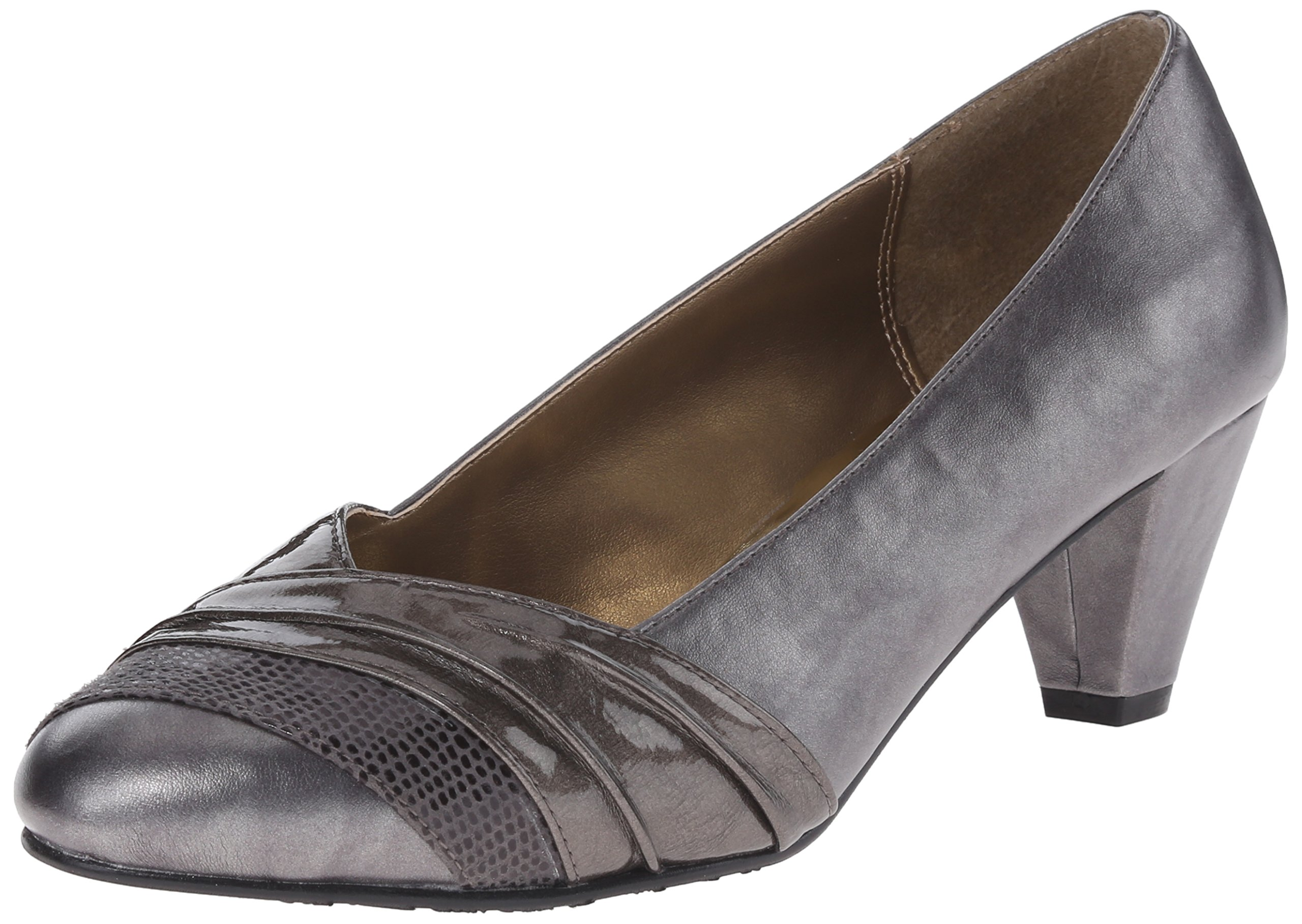 Soft Style by Hush Puppies Women's Danette Dress Pump, Dark Pewter Vitello/Pearlized Patent, 7.5 M US by Soft Style