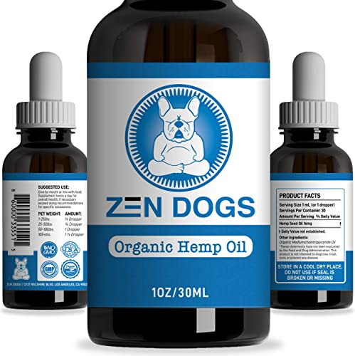 Zen Dogs – Organic Hemp Oil for Dogs Cats MCT Oil – Healthy Omega 3 6 Fatty Acids – All Natural Pet Care Treats Supplement for Skin Coat – Anti-Anxiety – Anti-Inflammation – Digestive Support