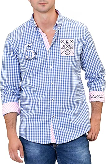 Piel de Toro Slim FIT Cuadro Vichy con Bordados Y Parches Camisa ...
