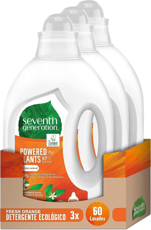 Seventh Generation Fresh Orange & Blossom - Detergente para Ropa, 0% colorantes, fragancias sintéticas y blanqueadores ópticos, 3 Paquetes de 20 Lavados
