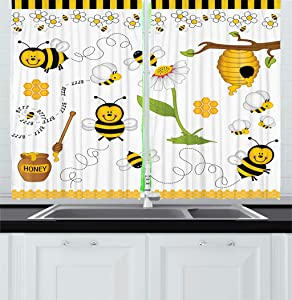 """Ambesonne Collage Kitchen Curtains, Flying Bees Daisy Honey Chamomile Flowers Pollen Springtime Animal Print, Window Drapes 2 Panel Set for Kitchen Cafe Decor, 55"""" X 39"""", White Yellow"""