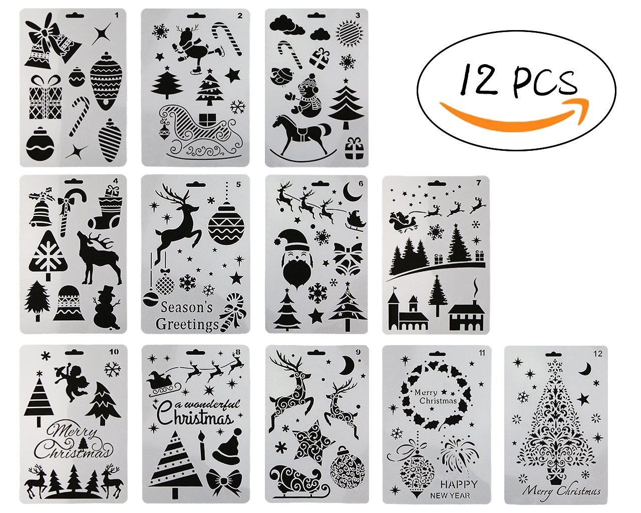12 Pcs Plastic Painting Stencil,Christmas Themes Santa Claus Snowman Christmas Tree Snow Elk Jingle Bell Drawing Spraying Templates 10