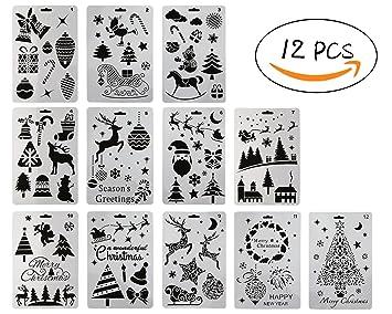 Pochoir Pere Noel.12 Pcs Plastique Peinture Pochoir Des Thèmes De Noël Père