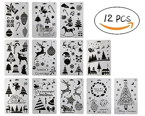 12 plantillas de pintura plástica, diseño de Papá Noel, muñeco de nieve, árbol