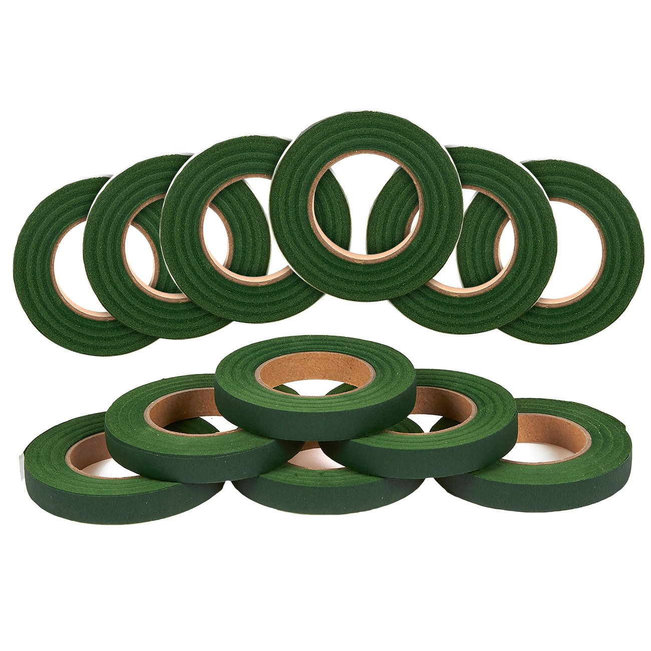 Pack of 12 Floral Tape - Florist Tape - Create Beautiful Bouquets - 360 Yards Total - Value Pack, 1/2 Inch x 30 Yards, Dark Green Juvale