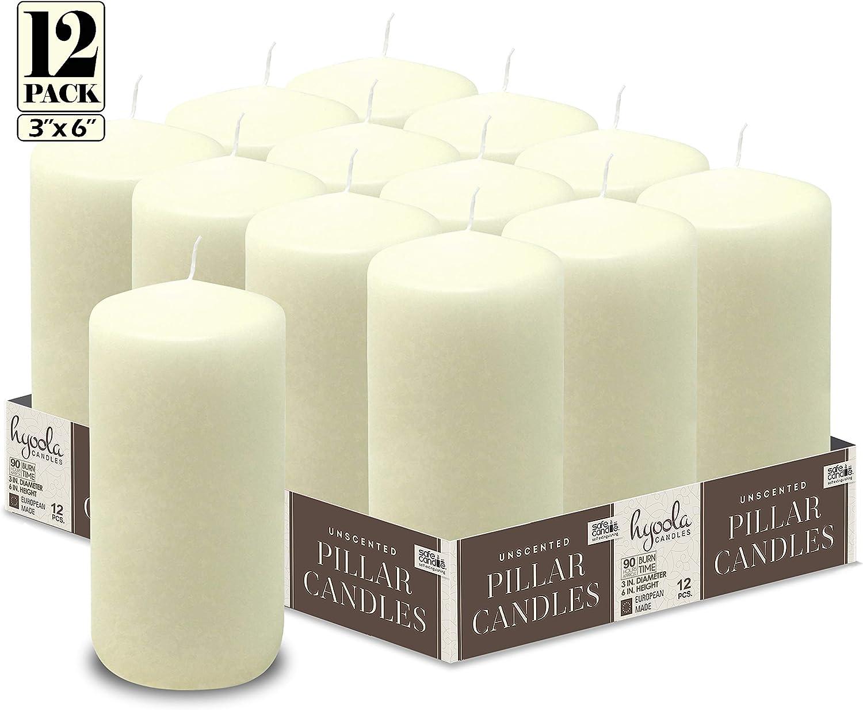Hyoola Lot de 12 Bougies Pilier Non parfum/ées Ivoire 7,6 x 15,2 cm