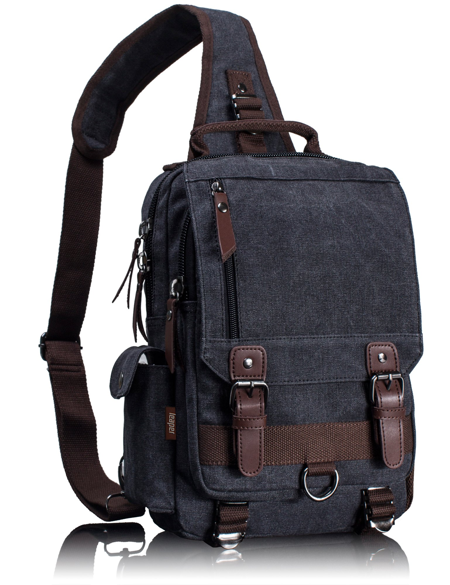 Leaper Retro Messenger Bag Canvas Shoulder Backpack Travel Rucksack Sling  Bag product image f07510018e5