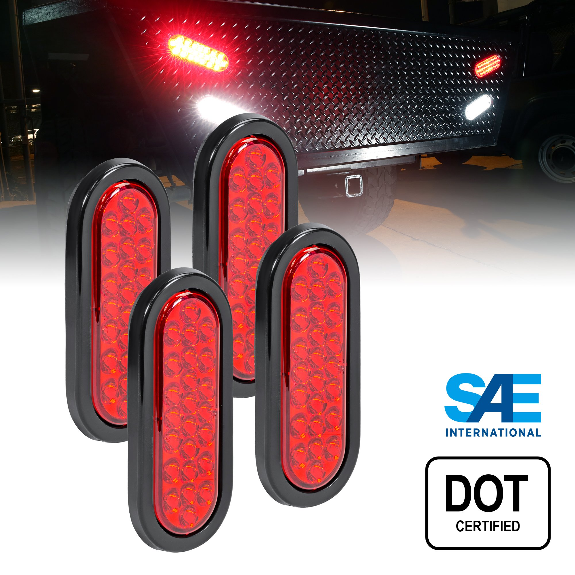 4pc 6'' Oval Red 24 LED Trailer Tail Lights [DOT Certified] [Grommet & Plug Included] [IP67 Waterproof] Turn Stop Brake Trailer Lights for RV Jeep Trucks