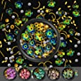 Flower Nail Rhinestones, 6 Pots Mixed Holographic Nail Art Gold Line Leaf Gems Sparkle Metal Charms Set, Iridescent Tiny Artificial Pearl Gold Beads DIY 3D Nail Art Decoration