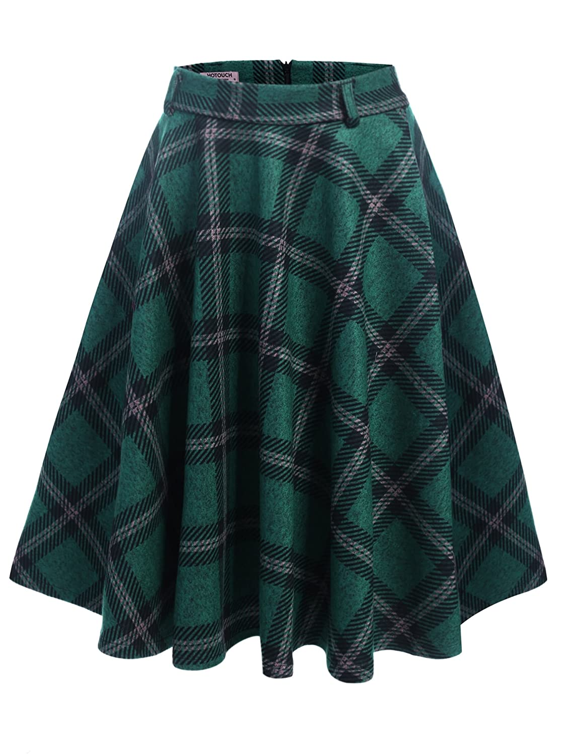1960s Style Skirts HOTOUCH Women High Waist A Line Pleated Flared Plaid Swing Knee Skirts $27.99 AT vintagedancer.com