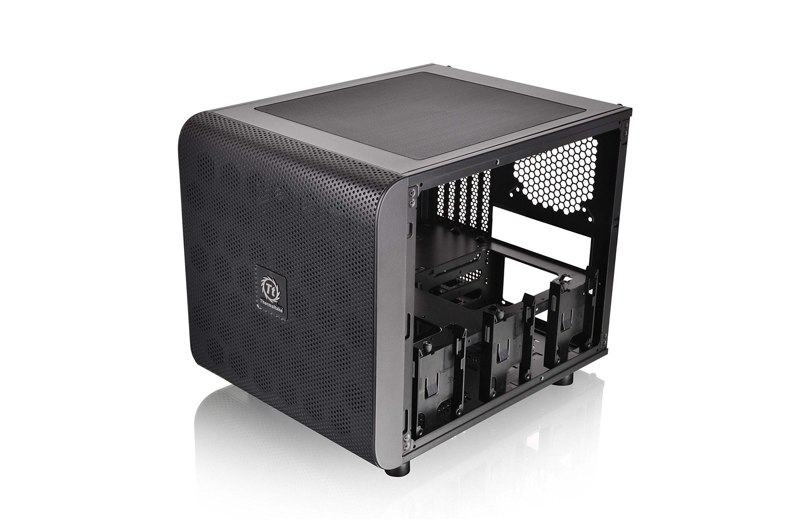 Thermaltake Core V21 SPCC Micro ATX Mini ITX Cube Gaming puter Case Chassis Small Form Factor Builds 200mm Front Fan Pre installed CA 1D5 00S1WN 00