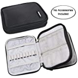 Damero Crochet Hook Case, Organizer Zipper Bag with Web Pockets for Various Crochet Needles and Knitting Accessories, Well Made and Easy to Carry, Medium, Black