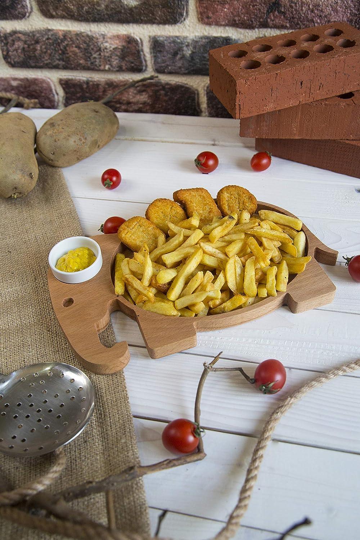 hogar decorativo Bandeja para servir papas fritas y salsa b/úho utensilios para servir con taz/ón de salsa de porcelana accesorio de cocina plato refrigerio de madera org/ánica aperitivos