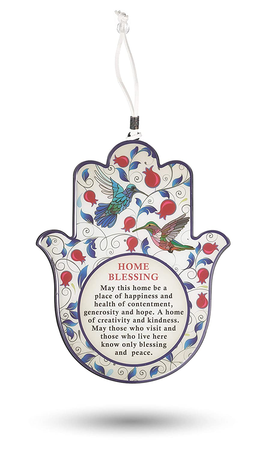 A&S Mezuzot Hamsa Home/Business Good Luck Blessing, Home Protection Hebrew and English Versions (Red Pomogranate, English Blessing)