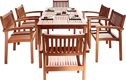 Vifah Malibu Outdoor 7-Piece Wood Patio Dining Set
