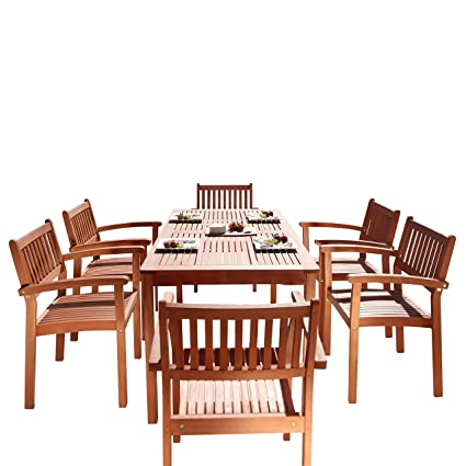 Vifah Patio Furniture.Vifah V98set10 7 Piece Wood Outdoor Dining Set With Stacking Chairs