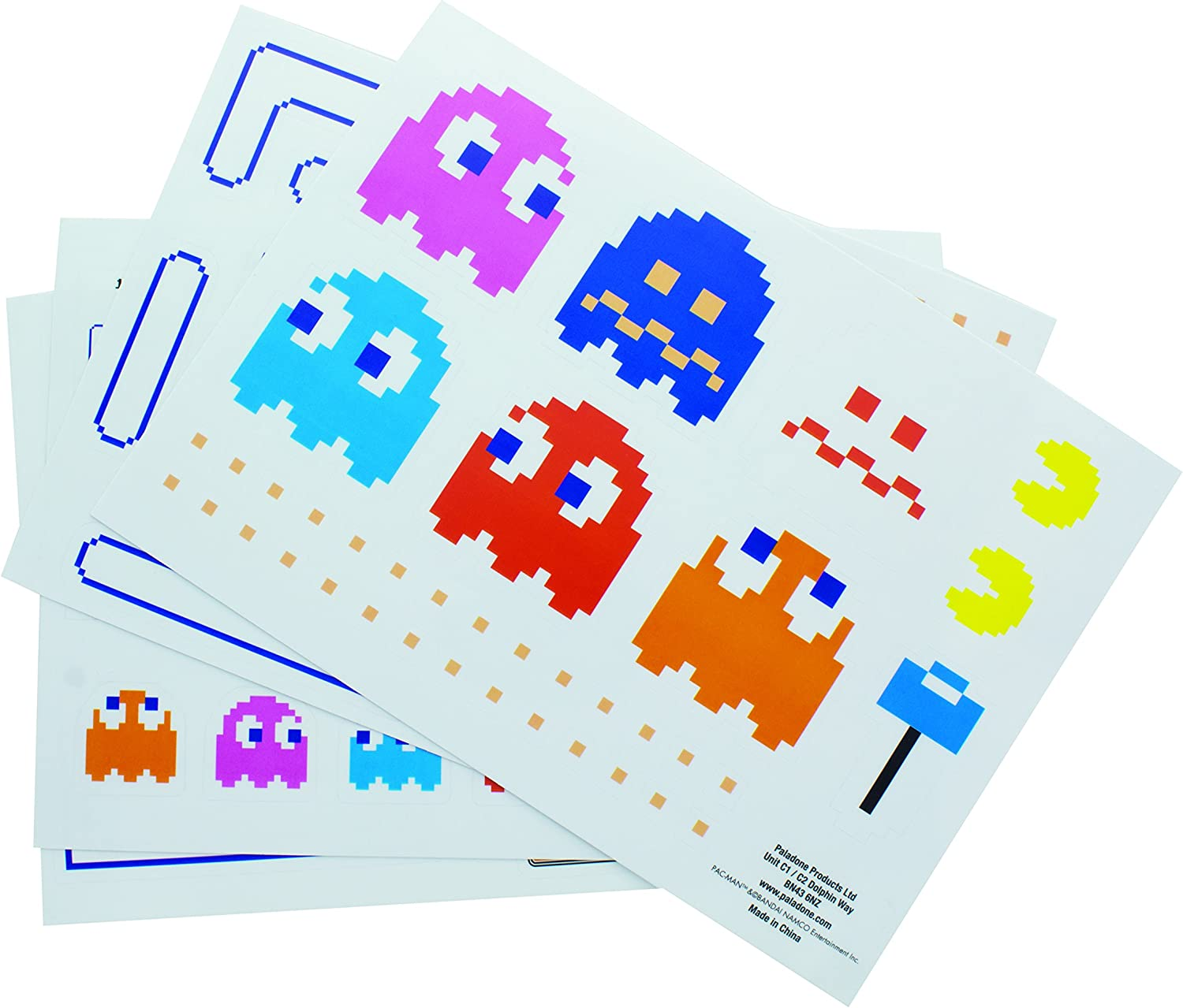 Paladone Pac-Man Vinyl Decals - Reusable Vinyl Stickers - 4 Sheets