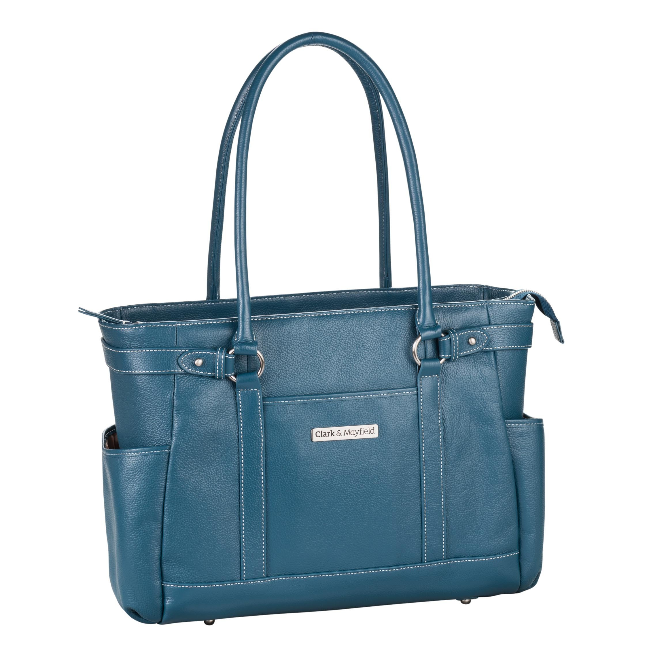 Clark & Mayfield Hawthorne Leather Laptop Handbag 17.3'' (Deep Teal)