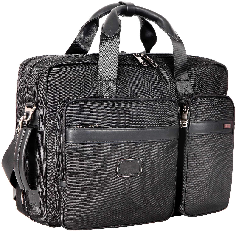 LEHANZ Laptop Bag Expandable Large Capacity Laptop Messenger 17 Inch Backpack Convertible Shoulder Bag Shockproof Professional Office Business Travel Briefcase for Men Women, Black