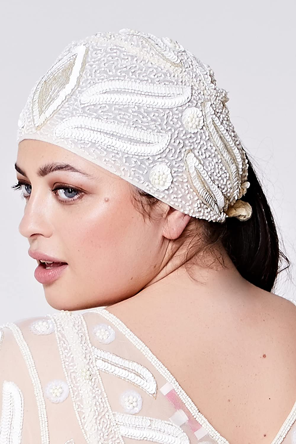 1920s Accessories | Great Gatsby Accessories Guide gatsbylady london Vegas Vintage Inspired Flapper Cap In Cream $35.07 AT vintagedancer.com