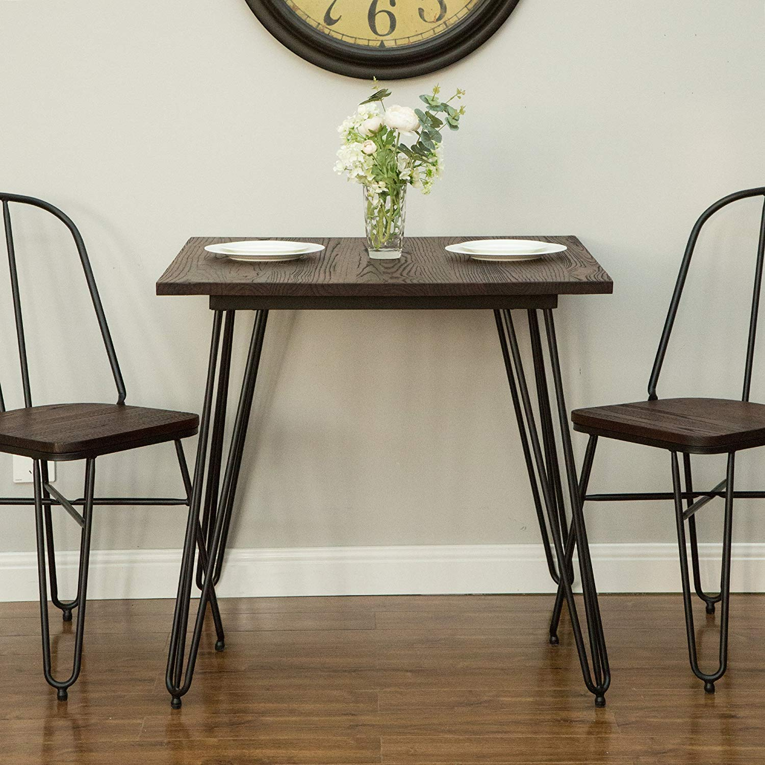 Glitzhome Metal Dining Table with Elm Wood Top in Industrial Style