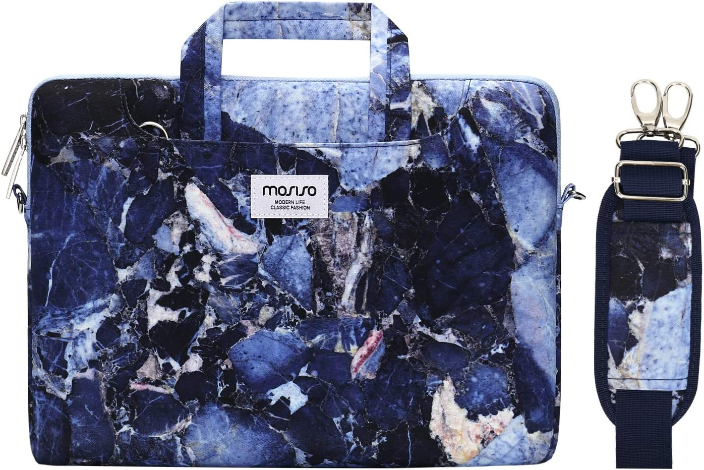 MOSISO Laptop Shoulder Bag Compatible with MacBook Pro 16 inch A2141 2020 2019, 15 15.4 15.6 inch Dell HP Acer Sony Chromebook, Polyester Rock Marble Briefcase Sleeve Case with Trolley Belt