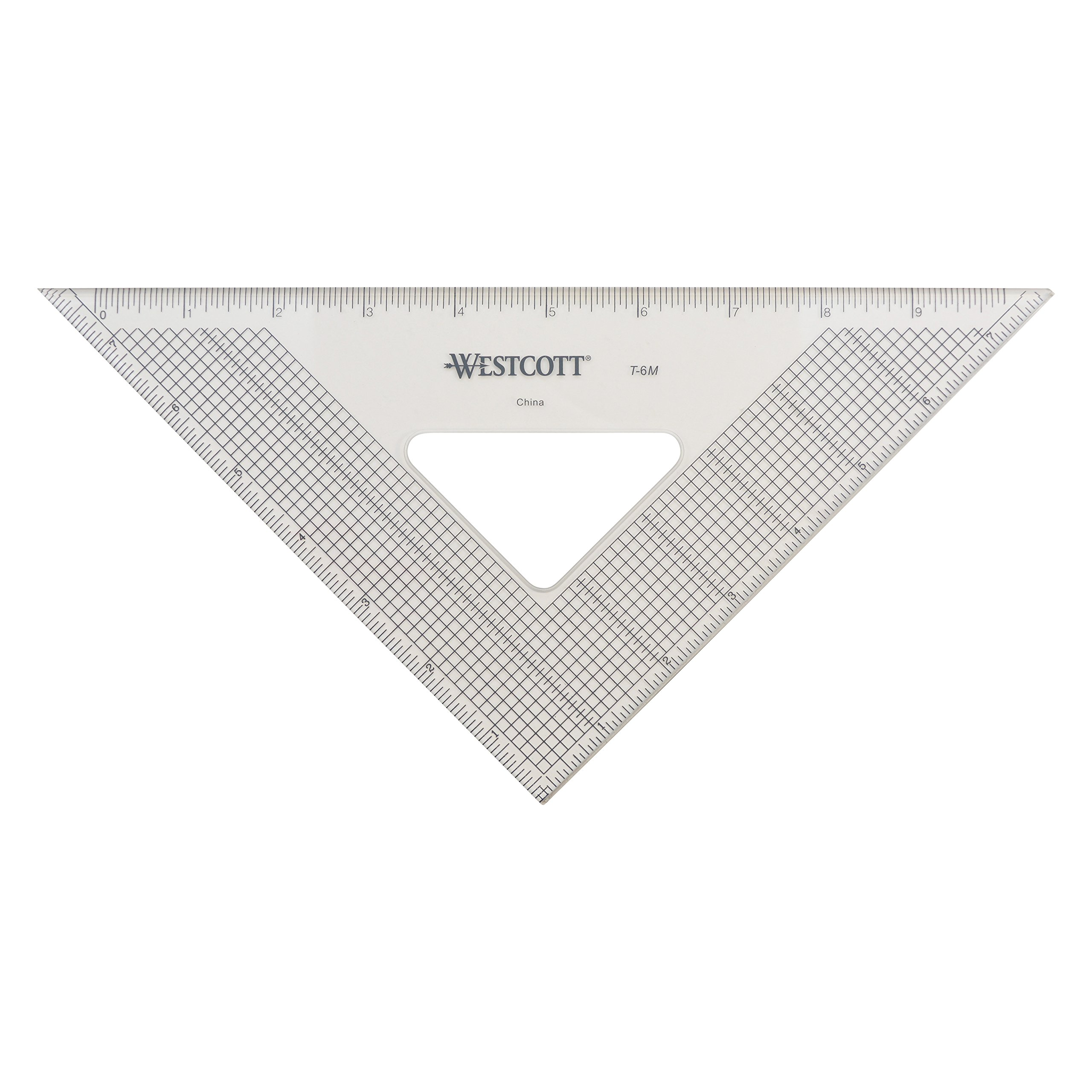 Westcott Grid Triangle, 8'', 45/90 Degree, Transparent (T-6M)